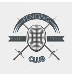 Fencing club badge with foil and mask vector