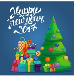 Fir tree for new year 2017 and merry christmas vector image