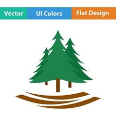 Flat design icon fir forest vector