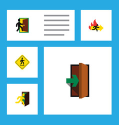 flat icon emergency set of evacuation fire exit vector image