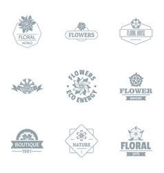 Florist logo set simple style vector