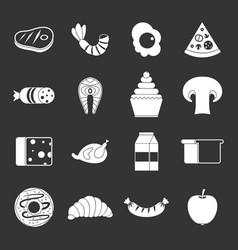 Food icons set grey vector