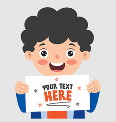 funny kid holding blank paper vector image