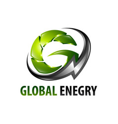 global energy lightning initial letter g logo vector image