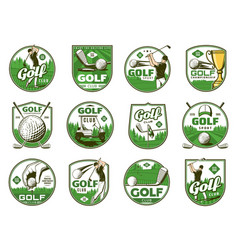 Golf sport icons of balls clubs tee and holes vector