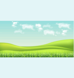 green field and sky background realistic vector image