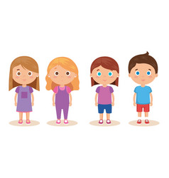 Group of little kids characters vector