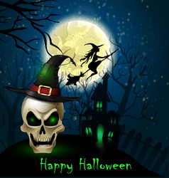 Halloween background of scull on the full moon vector