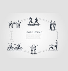 healthy lifestyle - people jogging walking doing vector image