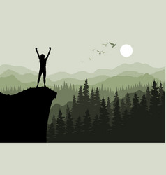 human standing on the top of mountain vector image