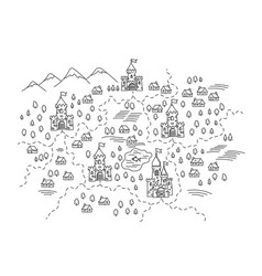 Kingdoms on map state areas castles vector