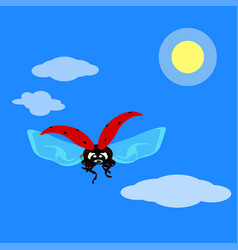 ladybird flying in the sky in flat style vector image