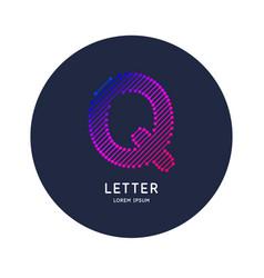 Letter q latin alphabet display vector