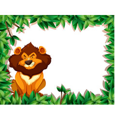 Lion in nature frame vector
