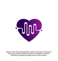 love heart with pulse logo elements and symbols vector image