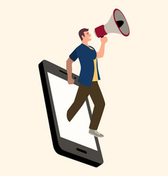 man using megaphone comes out from smart phone vector image