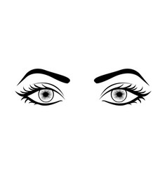 monochrome silhouette with female eyes open vector image