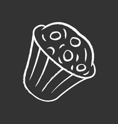 Muffin chalk icon cupcake with chocolate chips vector