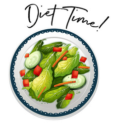 Plate of salad with phrase diet time vector