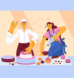 professional pastry chefs decorating cream cake vector image