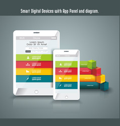 realistic tablet pc and touch screen smartphone vector image