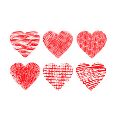 red hearts in grunge style valentines day vector image