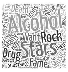 Rock stars music icons alcohol and drug overdose vector