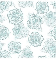 Rose seamless pattern outline vector image