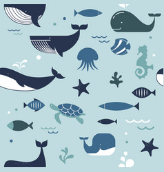 Sea life whales dolphins seamless pattern vector
