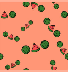 seamless doodle watermelons on pink background vector image