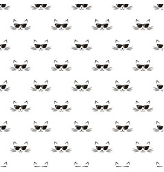 Seamless pattern with cats and sunglasses vector