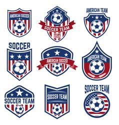 set american soccer team labels emblems vector image
