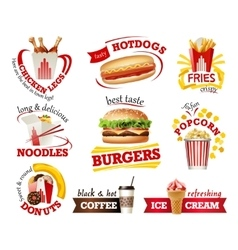 Set beautiful cartoon icons of fast food vector image