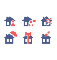 set house insurance service icons safety and vector image