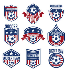set of american soccer team labels emblems with vector image
