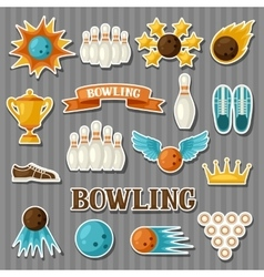Set of bowling items Objects for decoration vector