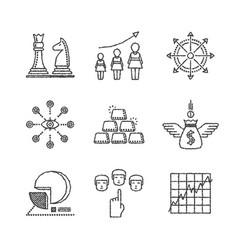 Set of business icons and concepts in sketch style vector
