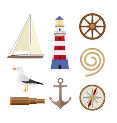 Set of flat cartoon style nautical objects vector