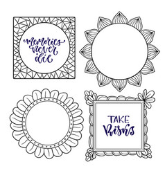Set of frames handwritten isolated vector