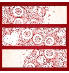 Set of hearts cards with doodles on ornate pattern vector image