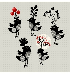 Set of strange birds with plants on their heads vector