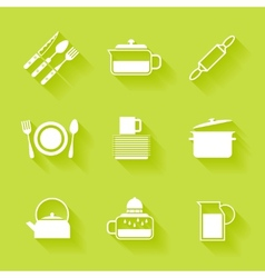 Set of white cutlery and dishes icons vector image