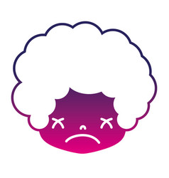 Silhouette boy head with curly hair and sad face vector