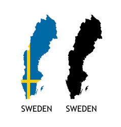 Silhouette sweden on white color vector