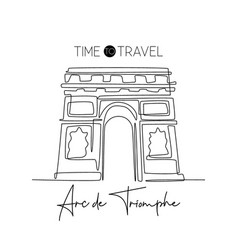 single one line drawing welcome to arc de vector image