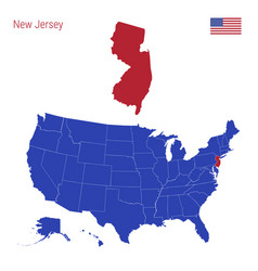 State new jersey is highlighted in red map vector