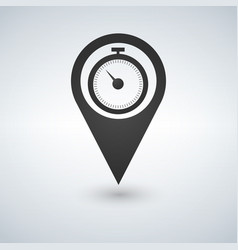 stopwatch and map pointer logo combination time vector image