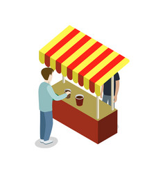 street food store isometric 3d icon vector image