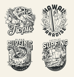 Surfing vintage emblems vector