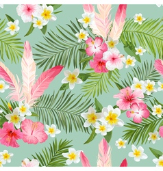 Tropical Flowers Background Seamless Pattern vector image